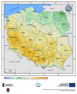 Maksymalna dobowa temperatura powietrza w III dekadzie lutego o prawdopodobieństwie wystąpienia 5%