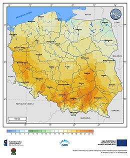 Maksymalna dobowa temperatura powietrza w II dekadzie marca o prawdopodobieństwie wystąpienia 1%