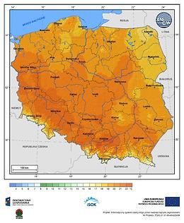Maksymalna dobowa temperatura powietrza w III dekadzie marca o prawdopodobieństwie wystąpienia 1%