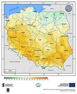 Maksymalna dobowa temperatura powietrza w I dekadzie kwietnia o prawdopodobieństwie wystąpienia 1%