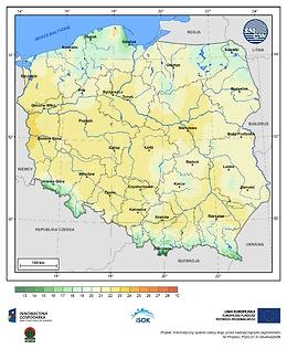 Maksymalna dobowa temperatura powietrza w II dekadzie kwietnia o prawdopodobieństwie wystąpienia 5%