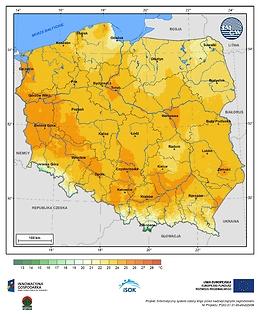 Maksymalna dobowa temperatura powietrza w II dekadzie kwietnia o prawdopodobieństwie wystąpienia 1%