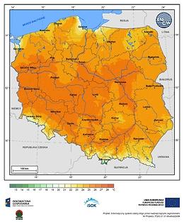 Maksymalna dobowa temperatura powietrza w III dekadzie kwietnia o prawdopodobieństwie wystąpienia 5%