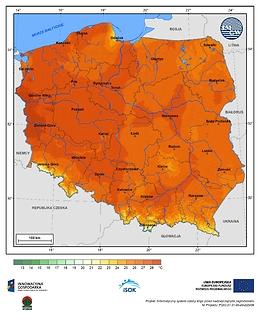 Maksymalna dobowa temperatura powietrza w III dekadzie kwietnia o prawdopodobieństwie wystąpienia 1%