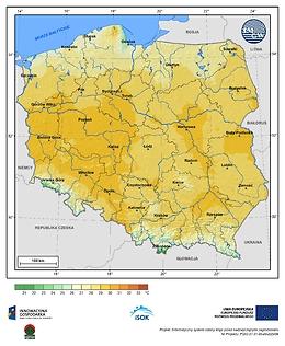 Maksymalna dobowa temperatura powietrza w II dekadzie czerwca o prawdopodobieństwie wystąpienia 5%