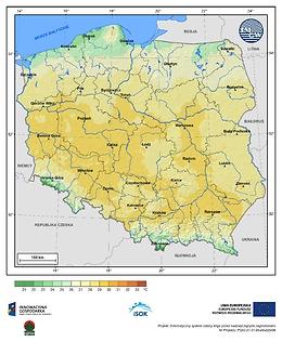 Maksymalna dobowa temperatura powietrza w III dekadzie czerwca o prawdopodobieństwie wystąpienia 10%