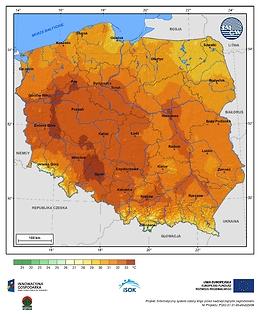 Maksymalna dobowa temperatura powietrza w III dekadzie czerwca o prawdopodobieństwie wystąpienia 1%