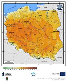 Maksymalna dobowa temperatura powietrza w II dekadzie lipca o prawdopodobieństwie wystąpienia 10%