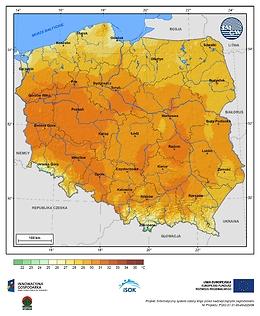 Maksymalna dobowa temperatura powietrza w III dekadzie lipca o prawdopodobieństwie wystąpienia 10%