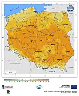 Maksymalna dobowa temperatura powietrza w I dekadzie września o prawdopodobieństwie wystąpienia 10%