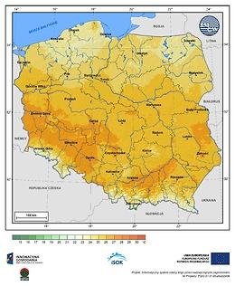 Maksymalna dobowa temperatura powietrza w II dekadzie września o prawdopodobieństwie wystąpienia 5%