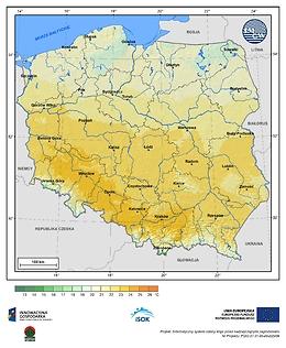 Maksymalna dobowa temperatura powietrza w I dekadzie października o prawdopodobieństwie wystąpienia 5%