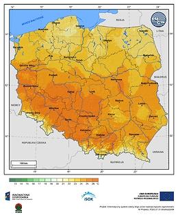 Maksymalna dobowa temperatura powietrza w I dekadzie października o prawdopodobieństwie wystąpienia 1%