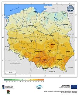 Maksymalna dobowa temperatura powietrza w II dekadzie października o prawdopodobieństwie wystąpienia 1%