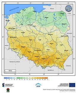 Maksymalna dobowa temperatura powietrza w I dekadzie listopada o prawdopodobieństwie wystąpienia 5%