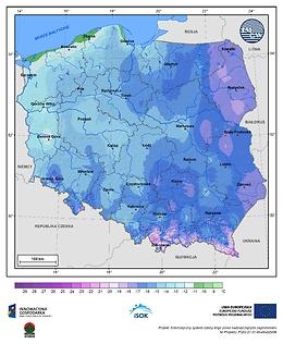 Minimalna dobowa temperatura powietrza w I dekadzie stycznia o prawdopodobieństwie wystąpienia 10%