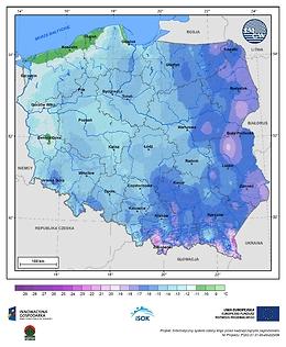 Minimalna dobowa temperatura powietrza w II dekadzie stycznia o prawdopodobieństwie wystąpienia 10%