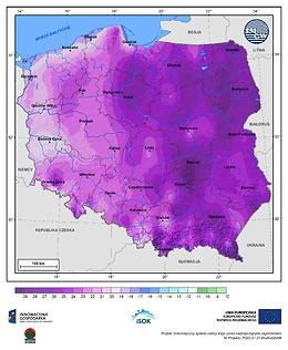 Minimalna dobowa temperatura powietrza w III dekadzie stycznia o prawdopodobieństwie wystąpienia 1%