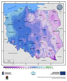 Minimalna dobowa temperatura powietrza w III dekadzie stycznia o prawdopodobieństwie wystąpienia 5%