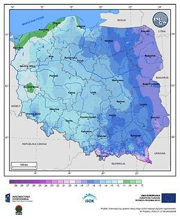 Minimalna dobowa temperatura powietrza w III dekadzie stycznia o prawdopodobieństwie wystąpienia 10%