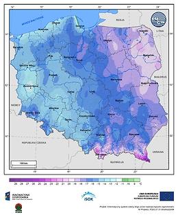 Minimalna dobowa temperatura powietrza w II dekadzie lutego o prawdopodobieństwie wystąpienia 5%