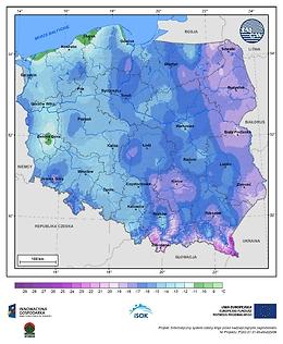 Minimalna dobowa temperatura powietrza w III dekadzie lutego o prawdopodobieństwie wystąpienia 5%