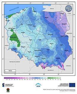 Minimalna dobowa temperatura powietrza w II dekadzie marca o prawdopodobieństwie wystąpienia 5%