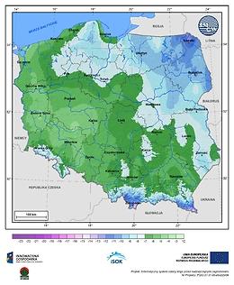 Minimalna dobowa temperatura powietrza w III dekadzie marca o prawdopodobieństwie wystąpienia 5%