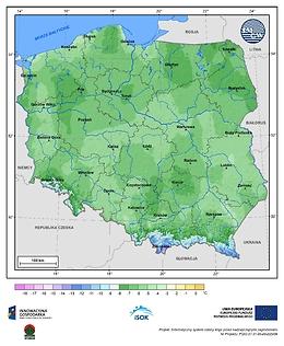 Minimalna dobowa temperatura powietrza w I dekadzie kwietnia o prawdopodobieństwie wystąpienia 1%