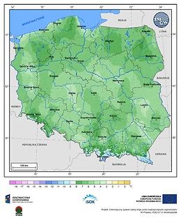 Minimalna dobowa temperatura powietrza w II dekadzie kwietnia o prawdopodobieństwie wystąpienia 1%