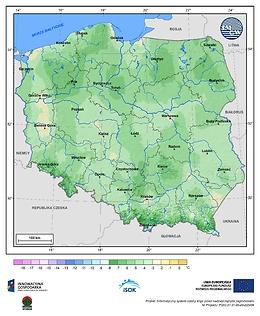 Minimalna dobowa temperatura powietrza w III dekadzie kwietnia o prawdopodobieństwie wystąpienia 1%