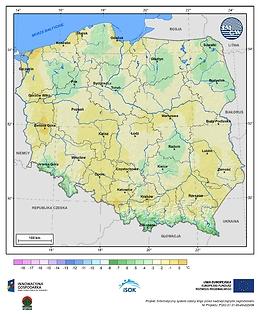 Minimalna dobowa temperatura powietrza w III dekadzie kwietnia o prawdopodobieństwie wystąpienia 5%