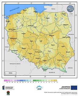 Minimalna dobowa temperatura powietrza w III dekadzie kwietnia o prawdopodobieństwie wystąpienia 10%