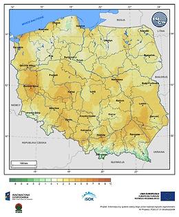 Minimalna dobowa temperatura powietrza w III dekadzie maja o prawdopodobieństwie wystąpienia 5%