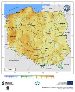 Minimalna dobowa temperatura powietrza w I dekadzie października o prawdopodobieństwie wystąpienia 5%