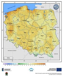 Minimalna dobowa temperatura powietrza w II dekadzie października o prawdopodobieństwie wystąpienia 10%