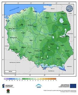 Minimalna dobowa temperatura powietrza w III dekadzie października o prawdopodobieństwie wystąpienia 1%