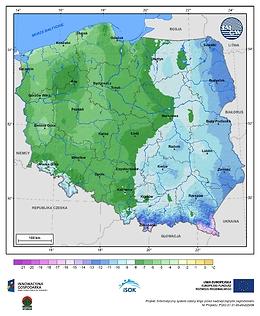 Minimalna dobowa temperatura powietrza w I dekadzie listopada o prawdopodobieństwie wystąpienia 1%