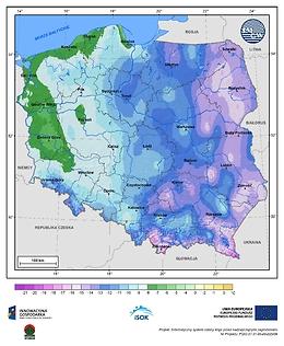 Minimalna dobowa temperatura powietrza w II dekadzie listopada o prawdopodobieństwie wystąpienia 1%