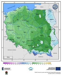 Minimalna dobowa temperatura powietrza w II dekadzie listopada o prawdopodobieństwie wystąpienia 5%
