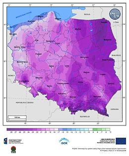 Minimalna dobowa temperatura powietrza w III dekadzie grudnia o prawdopodobieństwie wystąpienia 1%