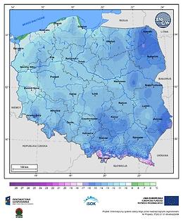 Minimalna dobowa temperatura powietrza w III dekadzie grudnia o prawdopodobieństwie wystąpienia 10%