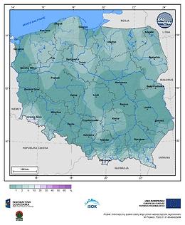 Prawdopodobieństwo wystąpienia przymrozków (Tmin <0°C) w III dekadzie maja