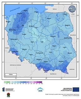 Maksymalna dobowa suma opadów atmosferycznych w III dekadzie stycznia o prawdopodobieństwie wystąpienia 1%