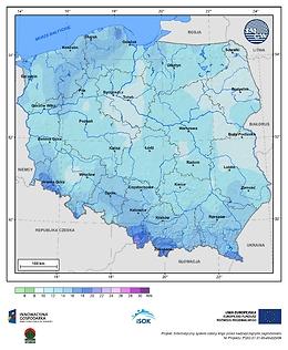 Maksymalna dobowa suma opadów atmosferycznych w I dekadzie lutego o prawdopodobieństwie wystąpienia 1%