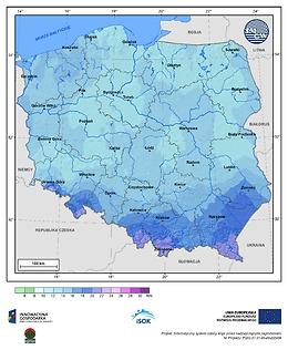 Maksymalna dobowa suma opadów atmosferycznych w III dekadzie lutego o prawdopodobieństwie wystąpienia 1%