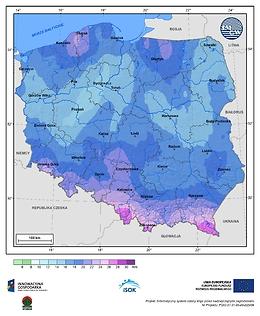 Maksymalna dobowa suma opadów atmosferycznych w II dekadzie listopada o prawdopodobieństwie wystąpienia 1%