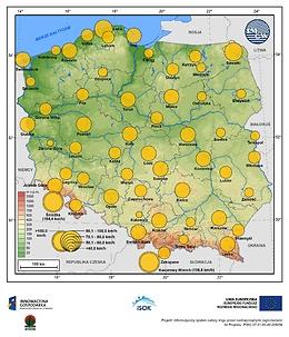 Maksymalne średnie 10-min prędkości wiatru w marcu