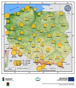 Maksymalne średnie 10-min prędkości wiatru w kwietniu