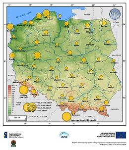 Maksymalne średnie 10-min prędkości wiatru w czerwcu